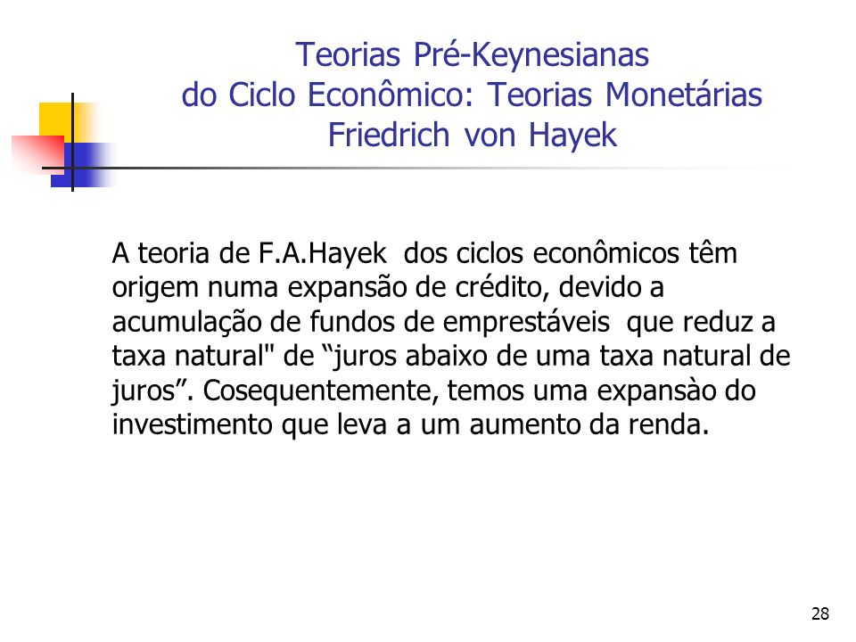 28 Teorias Pré-Keynesianas do Ciclo Econômico: Teorias Monetárias Friedrich von Hayek A teoria de F.A.Hayek dos ciclos econômicos têm origem numa expa