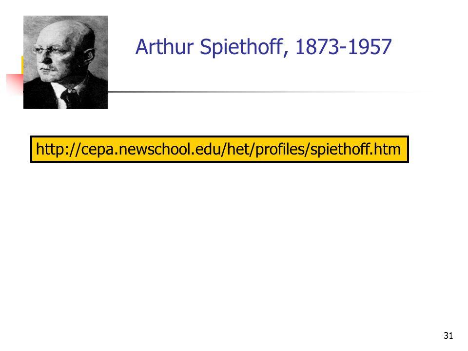 31 Arthur Spiethoff, 1873-1957 http://cepa.newschool.edu/het/profiles/spiethoff.htm
