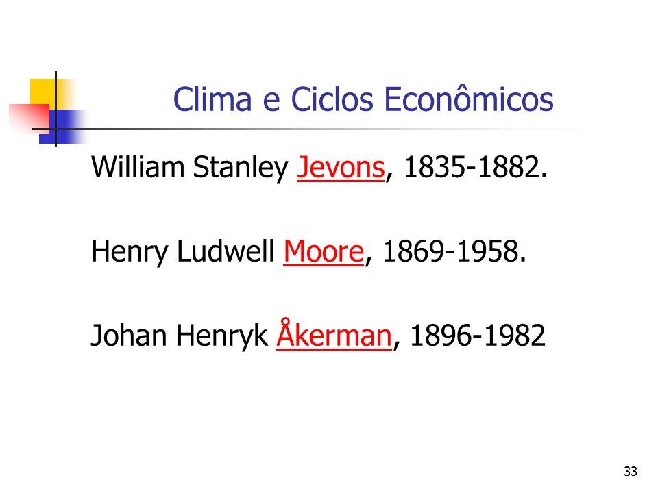 33 Clima e Ciclos Econômicos William Stanley Jevons, 1835-1882.Jevons Henry Ludwell Moore, 1869-1958.Moore Johan Henryk Åkerman, 1896-1982Åkerman