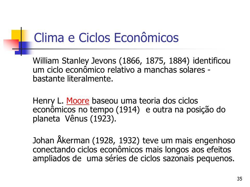 35 Clima e Ciclos Econômicos William Stanley Jevons (1866, 1875, 1884) identificou um ciclo econômico relativo a manchas solares - bastante literalmen