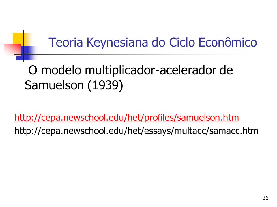 36 Teoria Keynesiana do Ciclo Econômico O modelo multiplicador-acelerador de Samuelson (1939) http://cepa.newschool.edu/het/profiles/samuelson.htm htt