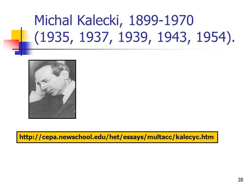 38 Michal Kalecki, 1899-1970 (1935, 1937, 1939, 1943, 1954). http://cepa.newschool.edu/het/essays/multacc/kalecyc.htm