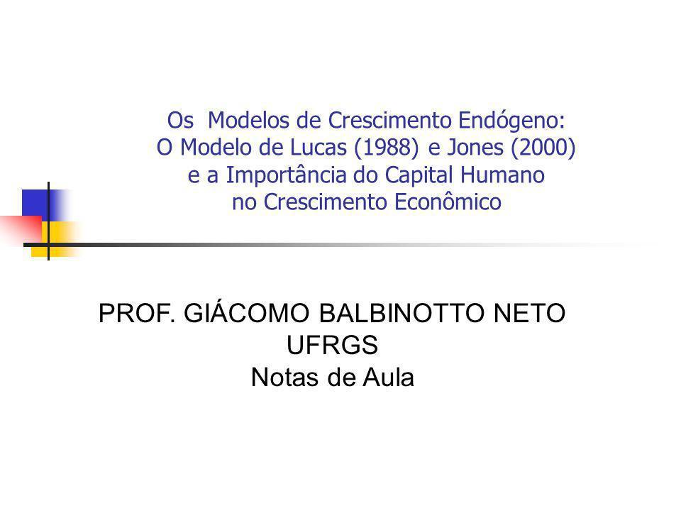 Os Modelos de Crescimento Endógeno: O Modelo de Lucas (1988) e Jones (2000) e a Importância do Capital Humano no Crescimento Econômico PROF. GIÁCOMO B
