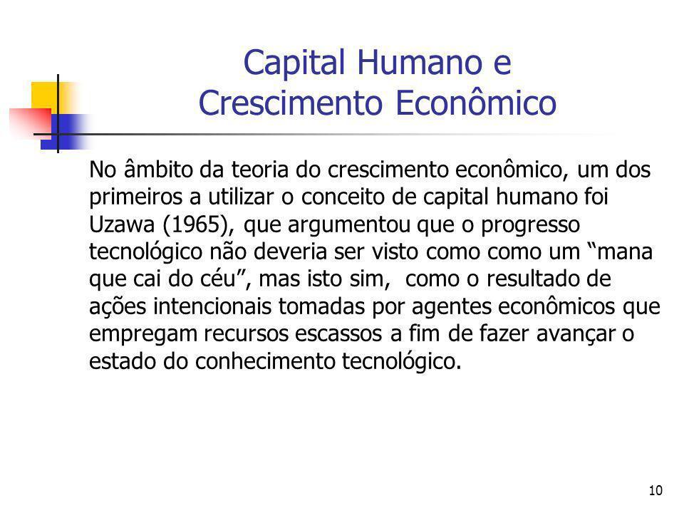 10 Capital Humano e Crescimento Econômico No âmbito da teoria do crescimento econômico, um dos primeiros a utilizar o conceito de capital humano foi U