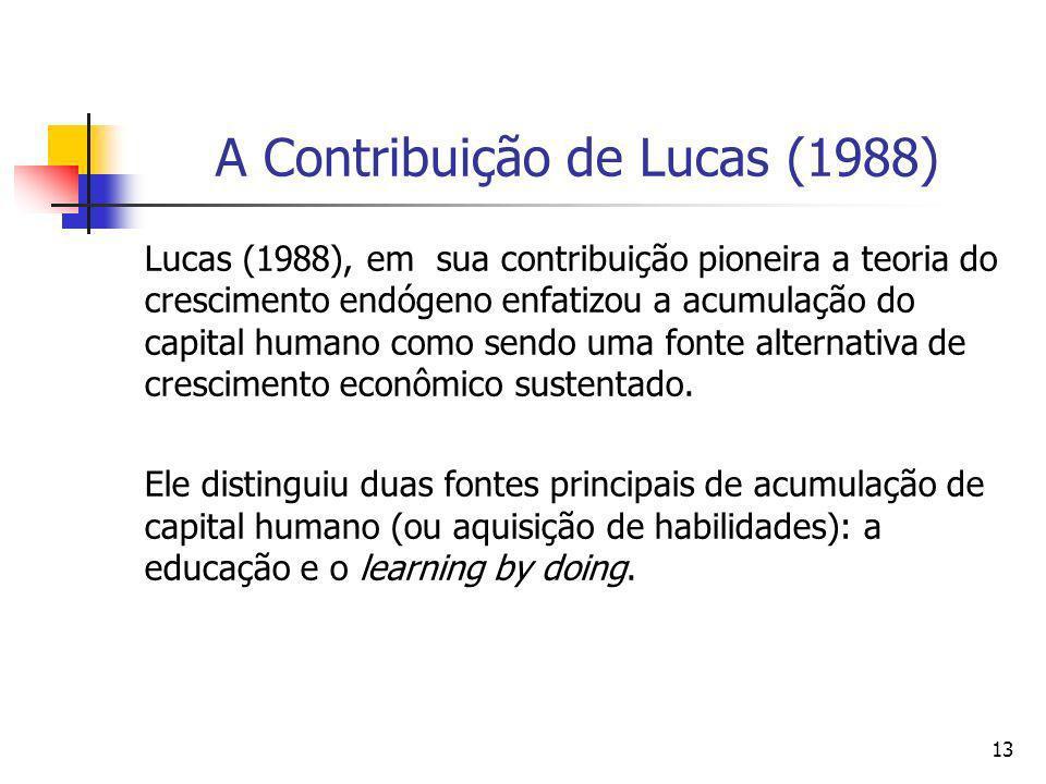 13 A Contribuição de Lucas (1988) Lucas (1988), em sua contribuição pioneira a teoria do crescimento endógeno enfatizou a acumulação do capital humano