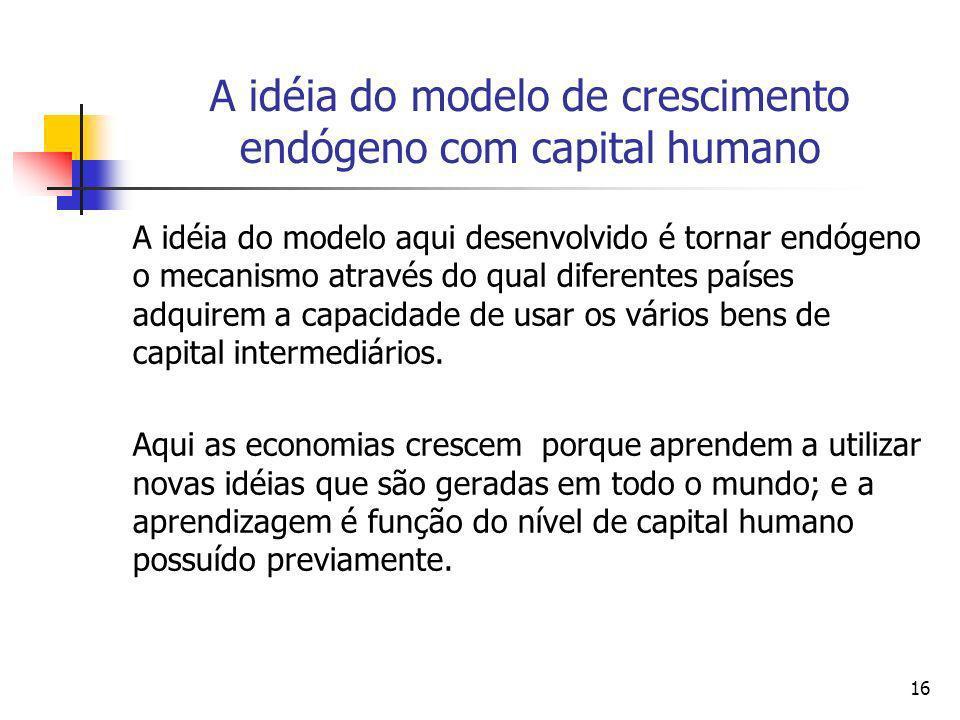 16 A idéia do modelo de crescimento endógeno com capital humano A idéia do modelo aqui desenvolvido é tornar endógeno o mecanismo através do qual dife