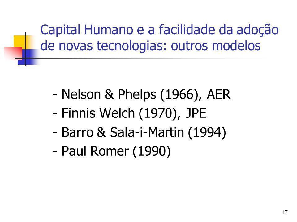 17 Capital Humano e a facilidade da adoção de novas tecnologias: outros modelos - Nelson & Phelps (1966), AER - Finnis Welch (1970), JPE - Barro & Sal