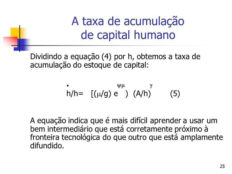 25 A taxa de acumulação de capital humano Dividindo a equação (4) por h, obtemos a taxa de acumulação do estoque de capital: h/h= [( /g) e ) (A/h) (5)