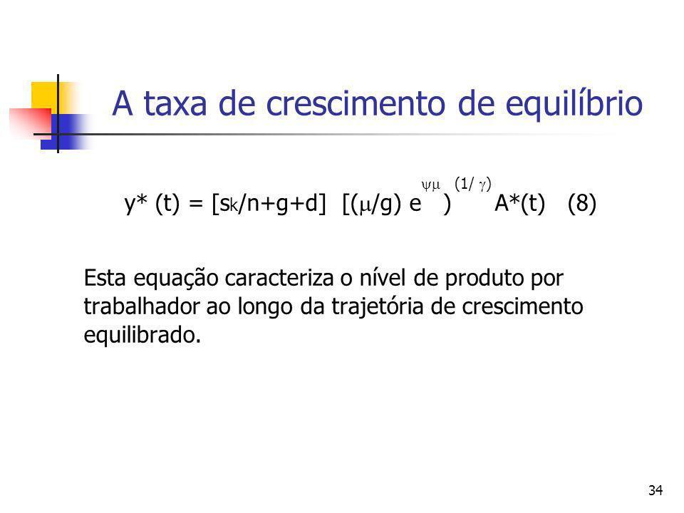 34 A taxa de crescimento de equilíbrio (1/ ) y* (t) = [s k /n+g+d] [( /g) e ) A*(t) (8) Esta equação caracteriza o nível de produto por trabalhador ao