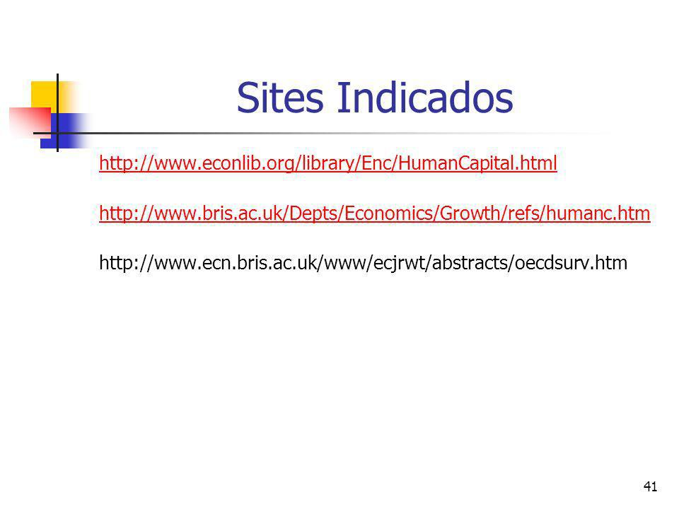 41 Sites Indicados http://www.econlib.org/library/Enc/HumanCapital.html http://www.bris.ac.uk/Depts/Economics/Growth/refs/humanc.htm http://www.ecn.br
