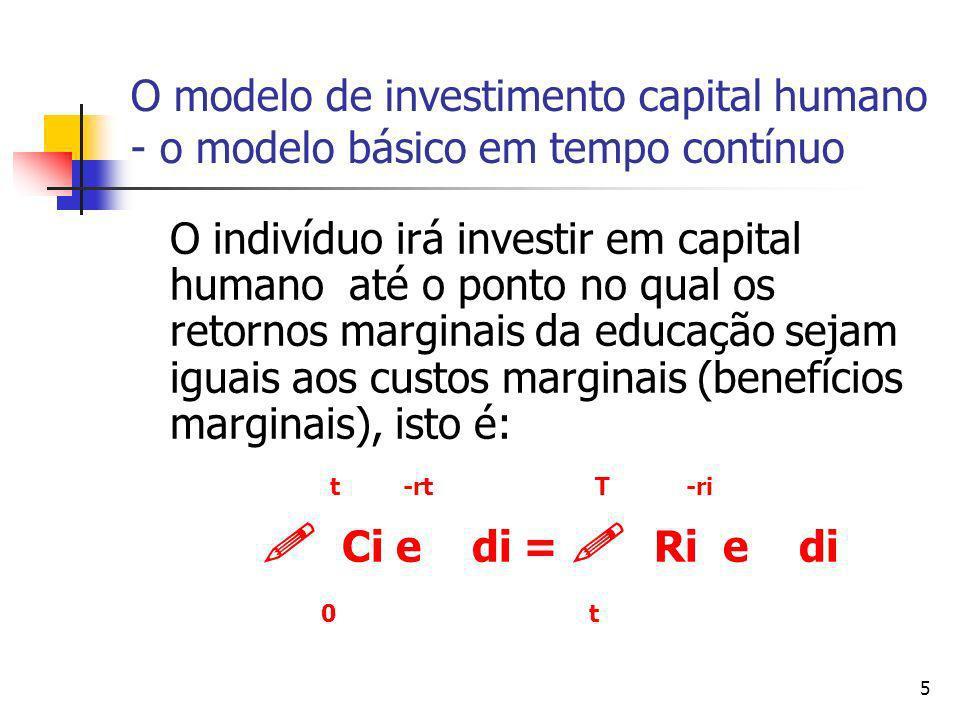 5 O modelo de investimento capital humano - o modelo básico em tempo contínuo O indivíduo irá investir em capital humano até o ponto no qual os retorn