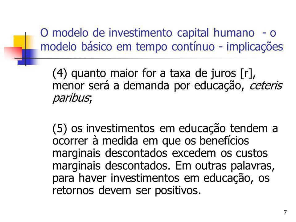 7 O modelo de investimento capital humano - o modelo básico em tempo contínuo - implicações (4) quanto maior for a taxa de juros [r], menor será a dem