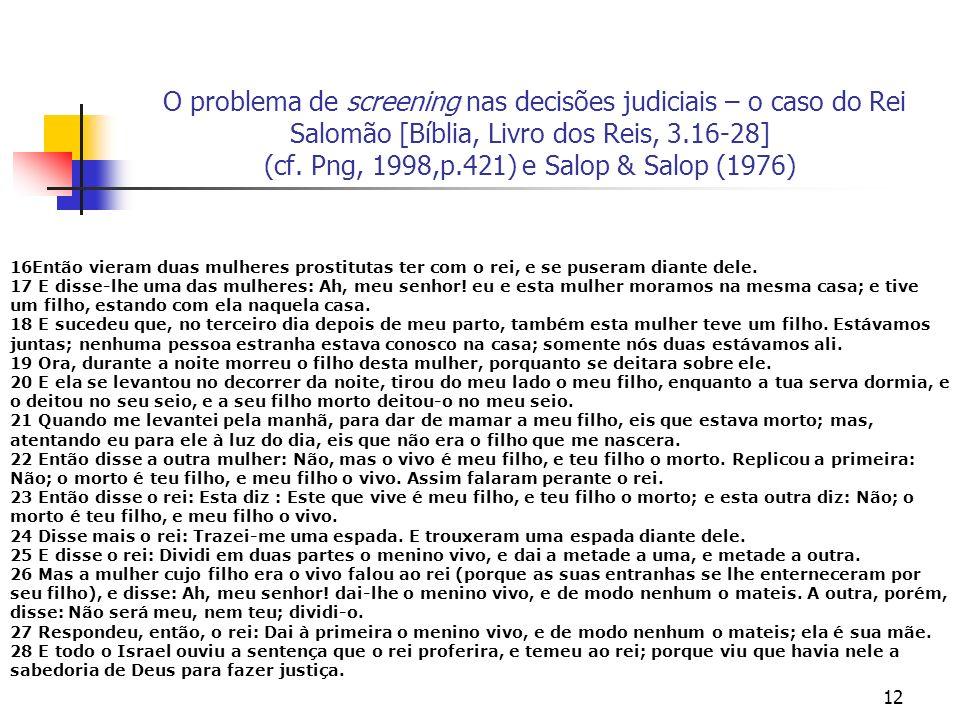 12 O problema de screening nas decisões judiciais – o caso do Rei Salomão [Bíblia, Livro dos Reis, 3.16-28] (cf. Png, 1998,p.421) e Salop & Salop (197