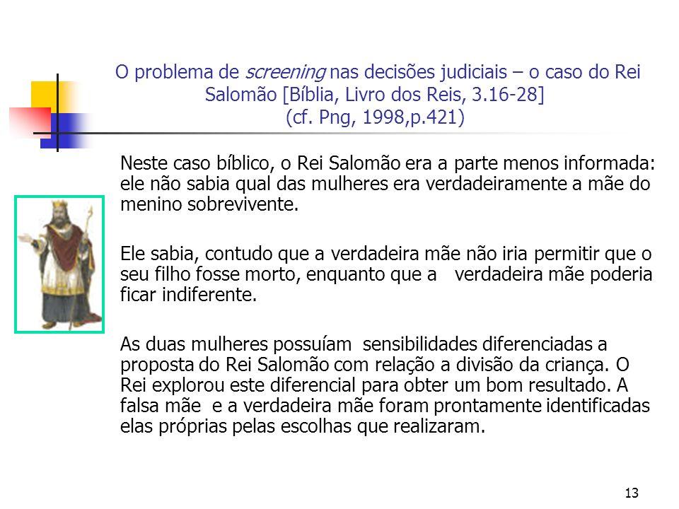 13 O problema de screening nas decisões judiciais – o caso do Rei Salomão [Bíblia, Livro dos Reis, 3.16-28] (cf. Png, 1998,p.421) Neste caso bíblico,