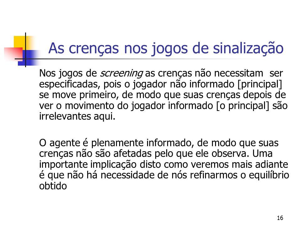 16 As crenças nos jogos de sinalização Nos jogos de screening as crenças não necessitam ser especificadas, pois o jogador não informado [principal] se