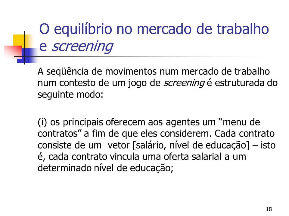 18 O equilíbrio no mercado de trabalho e screening A seqüência de movimentos num mercado de trabalho num contesto de um jogo de screening é estruturad