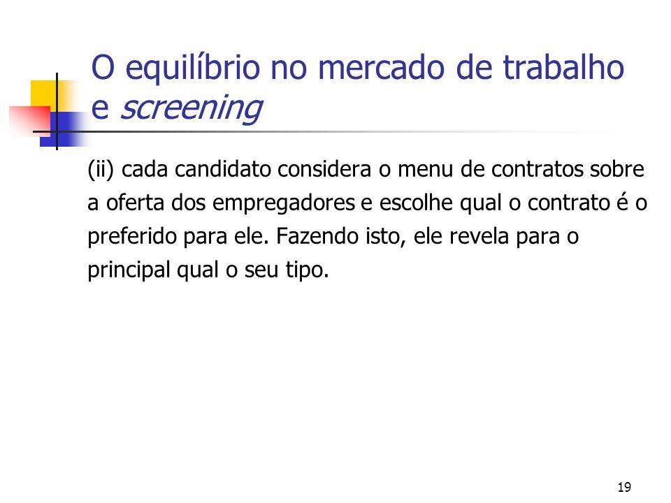 19 O equilíbrio no mercado de trabalho e screening (ii) cada candidato considera o menu de contratos sobre a oferta dos empregadores e escolhe qual o