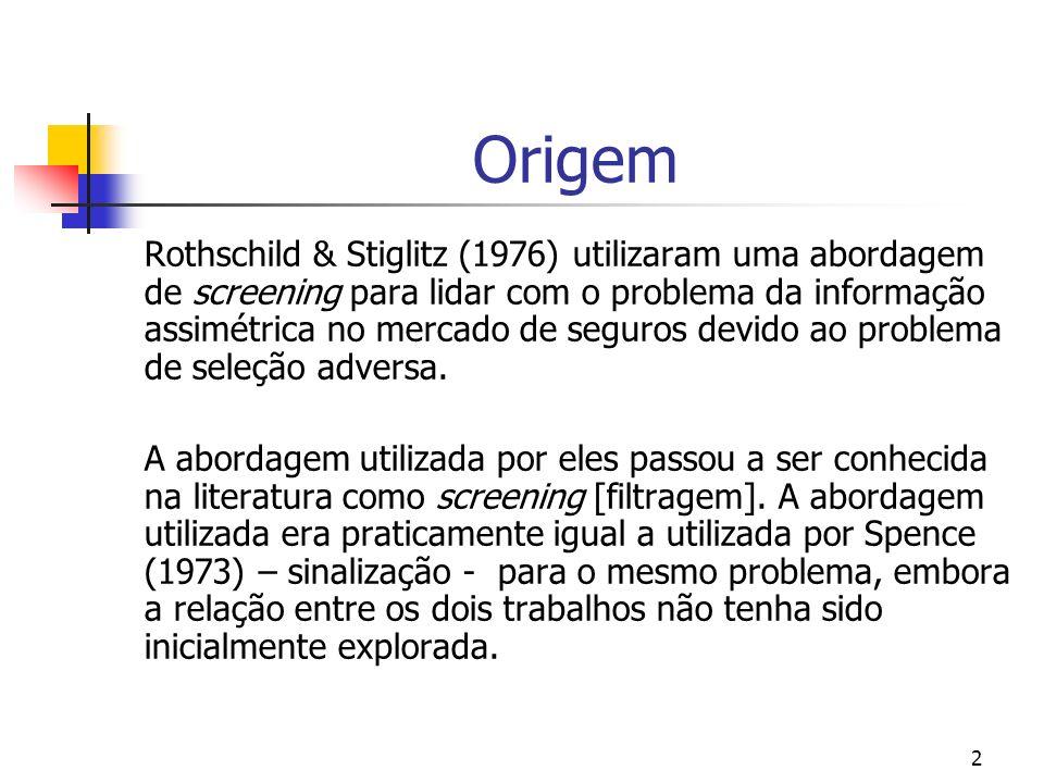 2 Origem Rothschild & Stiglitz (1976) utilizaram uma abordagem de screening para lidar com o problema da informação assimétrica no mercado de seguros