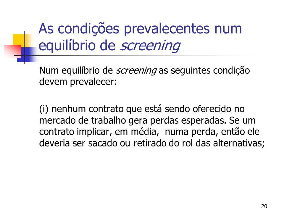 20 As condições prevalecentes num equilíbrio de screening Num equilíbrio de screening as seguintes condição devem prevalecer: (i) nenhum contrato que