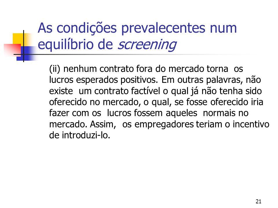 21 As condições prevalecentes num equilíbrio de screening (ii) nenhum contrato fora do mercado torna os lucros esperados positivos. Em outras palavras
