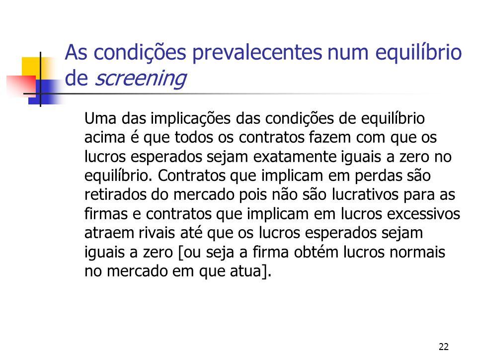 22 As condições prevalecentes num equilíbrio de screening Uma das implicações das condições de equilíbrio acima é que todos os contratos fazem com que