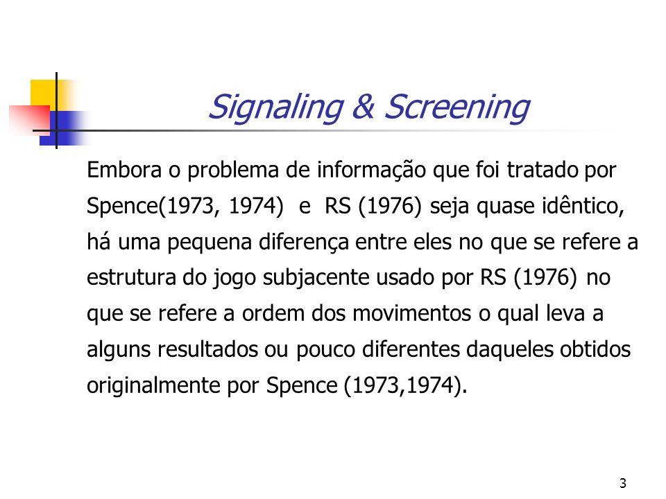 3 Signaling & Screening Embora o problema de informação que foi tratado por Spence(1973, 1974) e RS (1976) seja quase idêntico, há uma pequena diferen