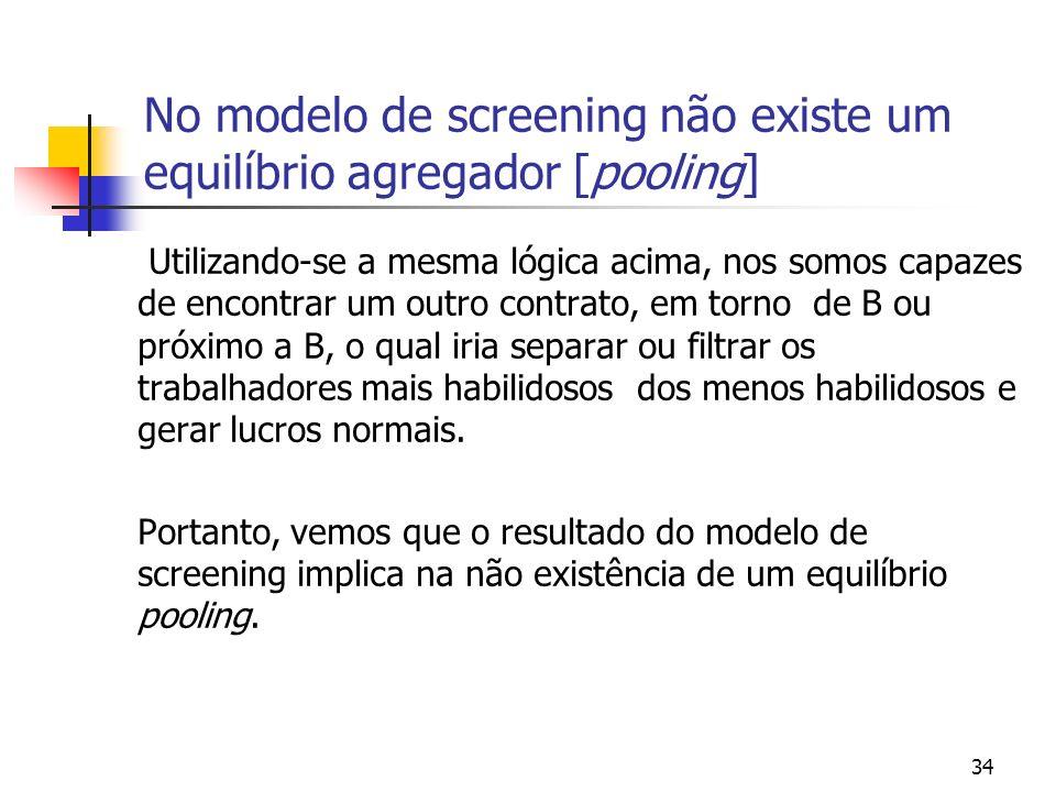 34 No modelo de screening não existe um equilíbrio agregador [pooling] Utilizando-se a mesma lógica acima, nos somos capazes de encontrar um outro con