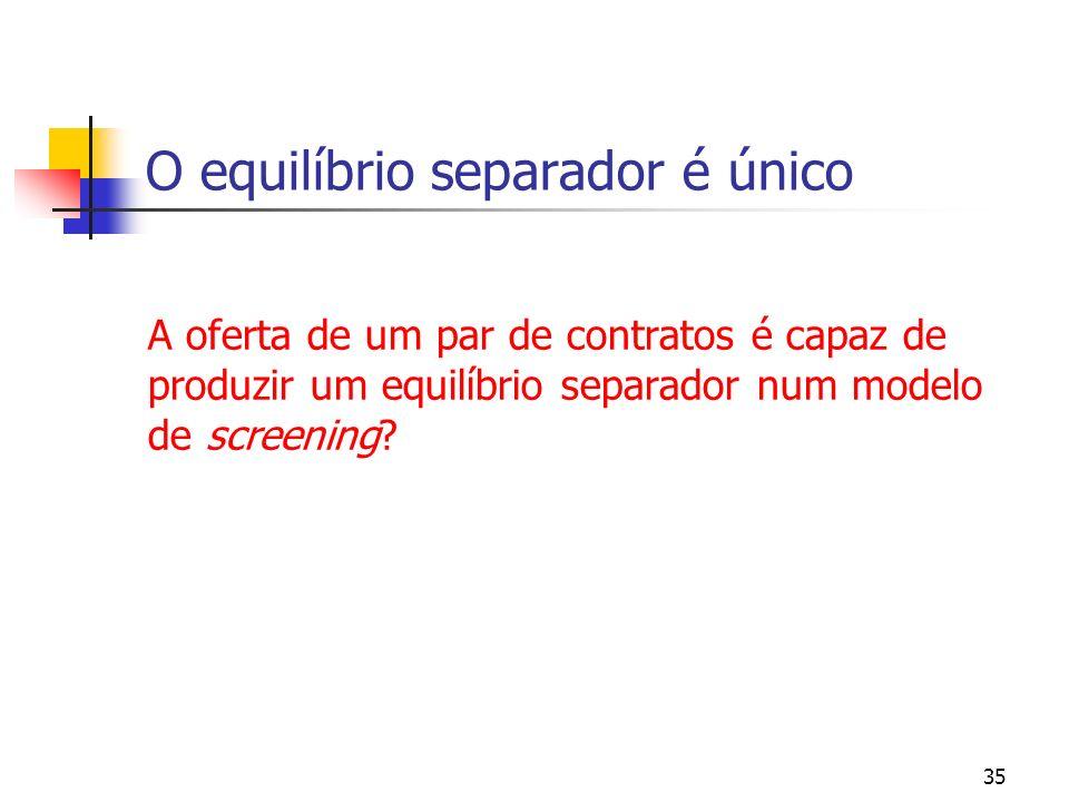 35 O equilíbrio separador é único A oferta de um par de contratos é capaz de produzir um equilíbrio separador num modelo de screening?