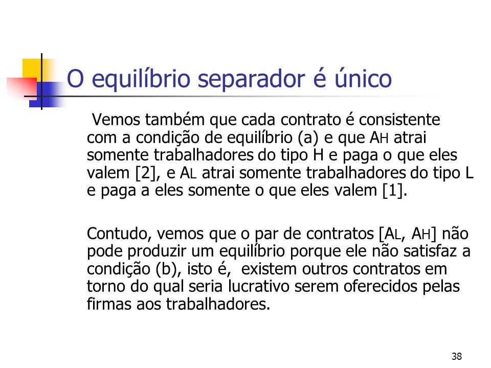 38 O equilíbrio separador é único Vemos também que cada contrato é consistente com a condição de equilíbrio (a) e que A H atrai somente trabalhadores