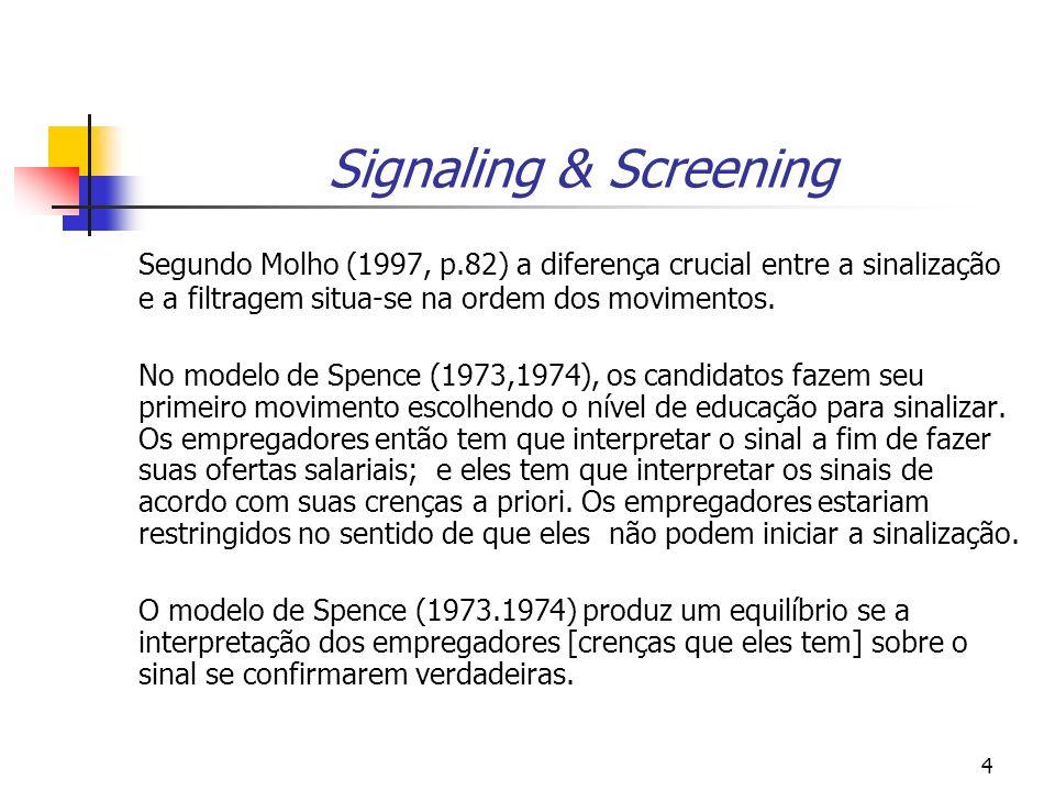 5 Signaling & Screening Já na abordagem RS (1976), são os empregadores que escolhem tanto o salário como o nível de educação como parte da oferta do contrato salarial que eles podem colocar no mercado.