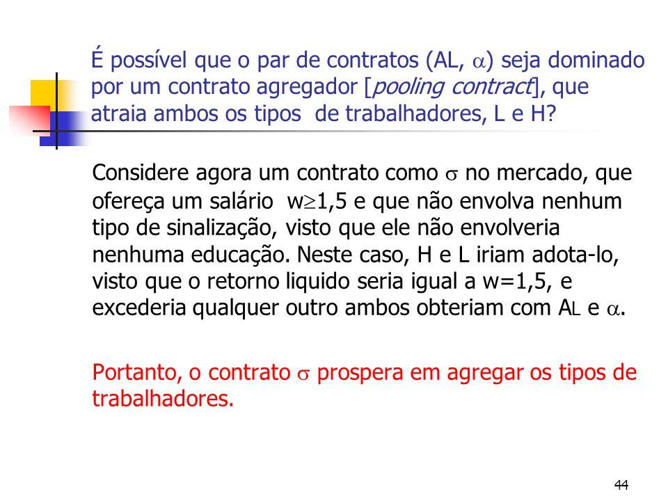 44 É possível que o par de contratos (AL, ) seja dominado por um contrato agregador [pooling contract], que atraia ambos os tipos de trabalhadores, L