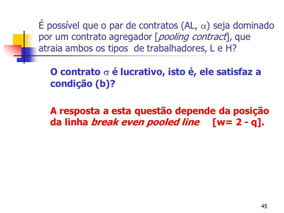 45 É possível que o par de contratos (AL, ) seja dominado por um contrato agregador [pooling contract], que atraia ambos os tipos de trabalhadores, L