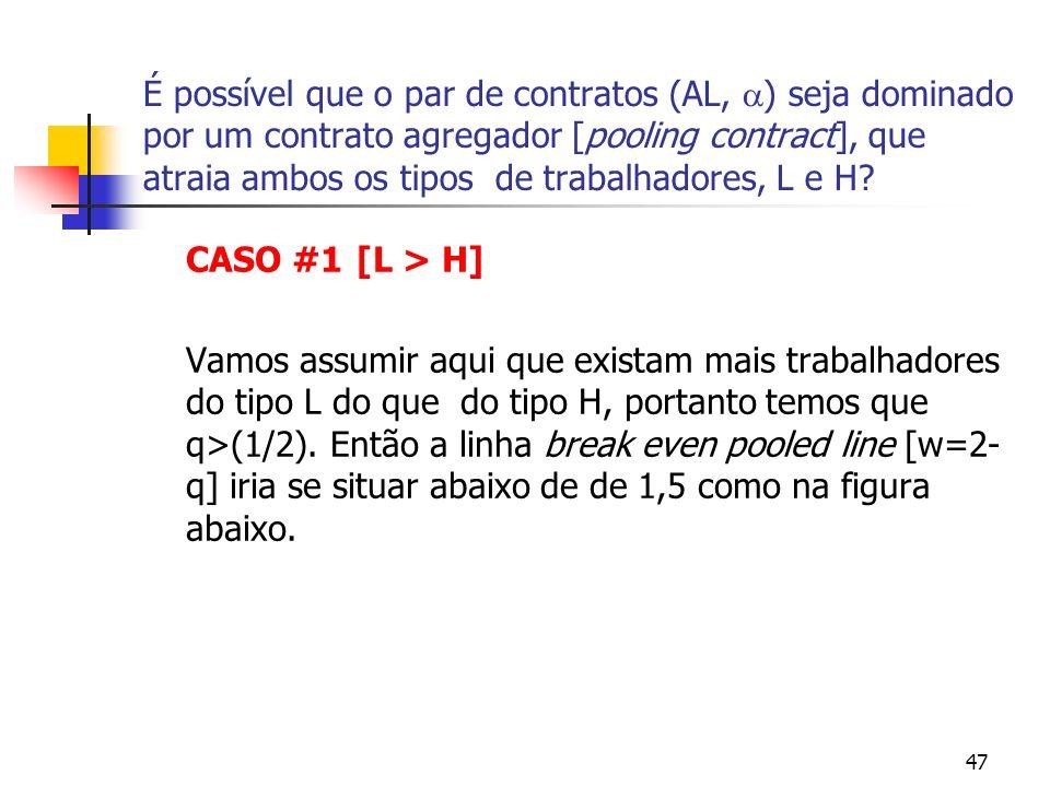 47 É possível que o par de contratos (AL, ) seja dominado por um contrato agregador [pooling contract], que atraia ambos os tipos de trabalhadores, L