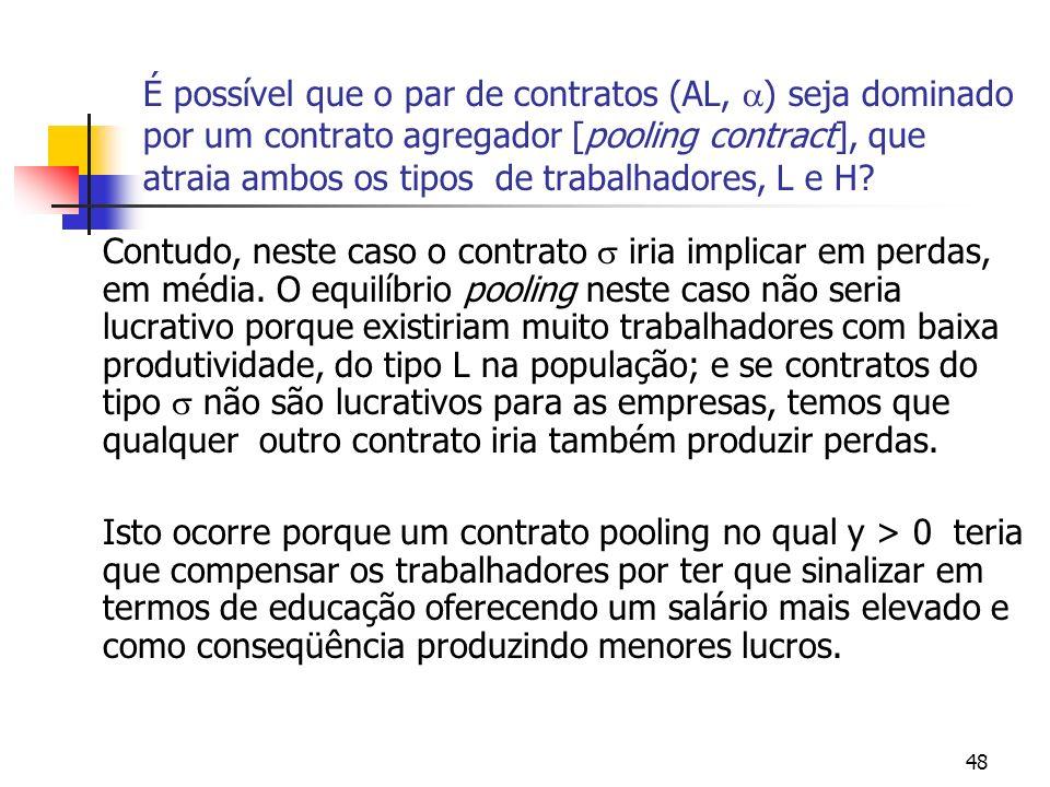 48 É possível que o par de contratos (AL, ) seja dominado por um contrato agregador [pooling contract], que atraia ambos os tipos de trabalhadores, L