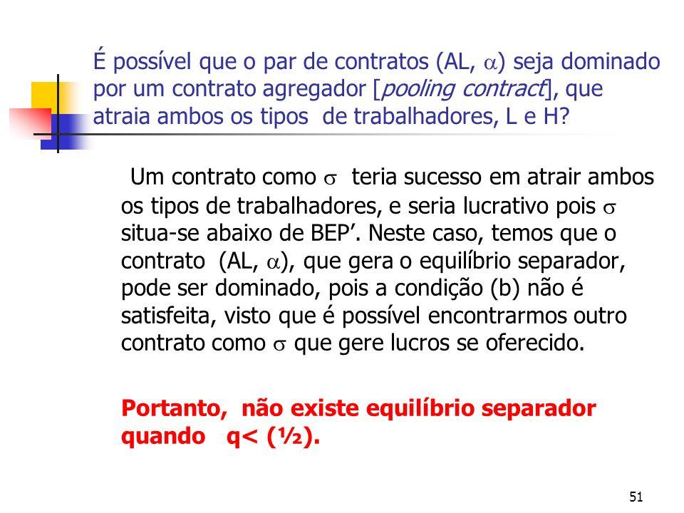 51 É possível que o par de contratos (AL, ) seja dominado por um contrato agregador [pooling contract], que atraia ambos os tipos de trabalhadores, L