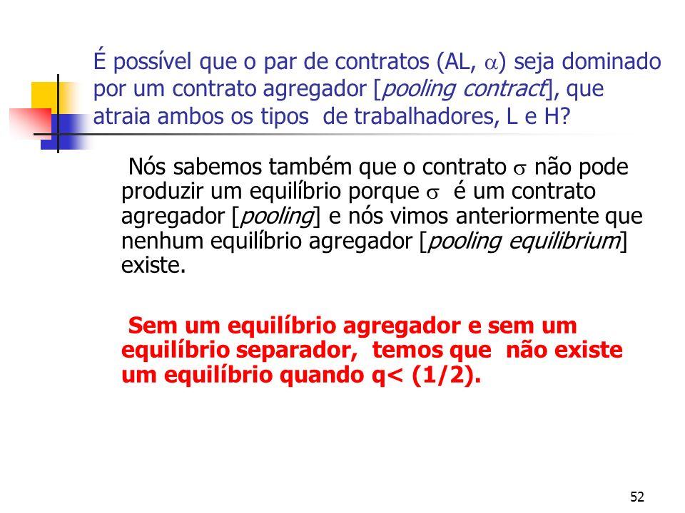 52 É possível que o par de contratos (AL, ) seja dominado por um contrato agregador [pooling contract], que atraia ambos os tipos de trabalhadores, L