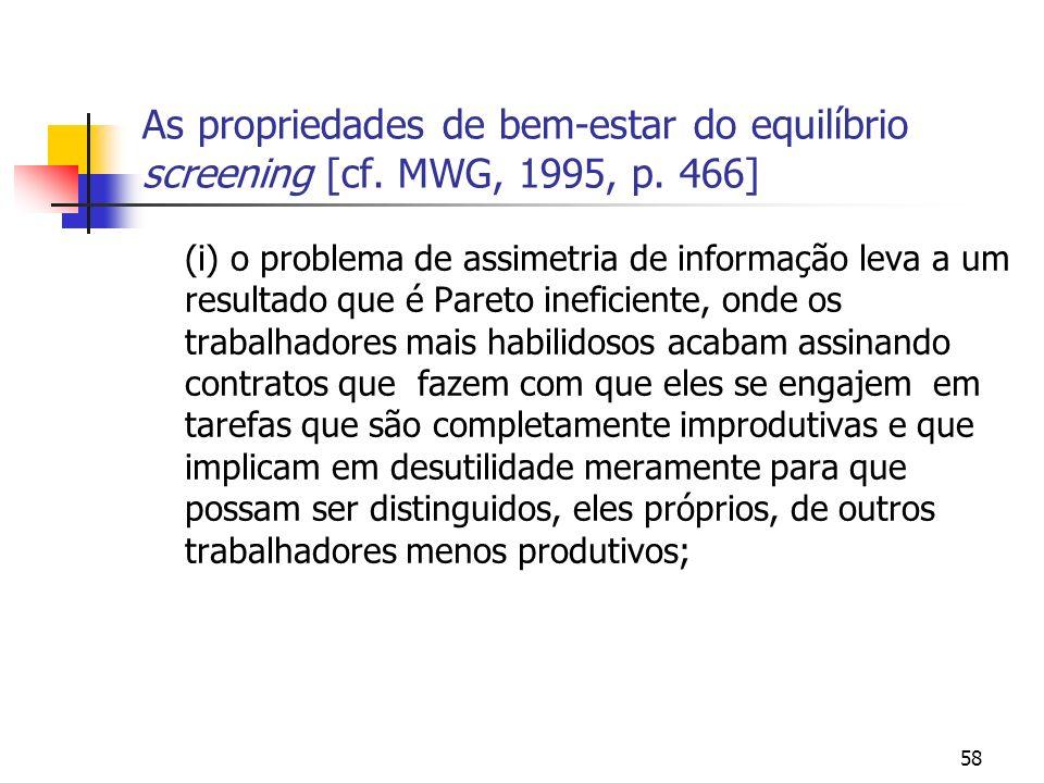 58 As propriedades de bem-estar do equilíbrio screening [cf. MWG, 1995, p. 466] (i) o problema de assimetria de informação leva a um resultado que é P