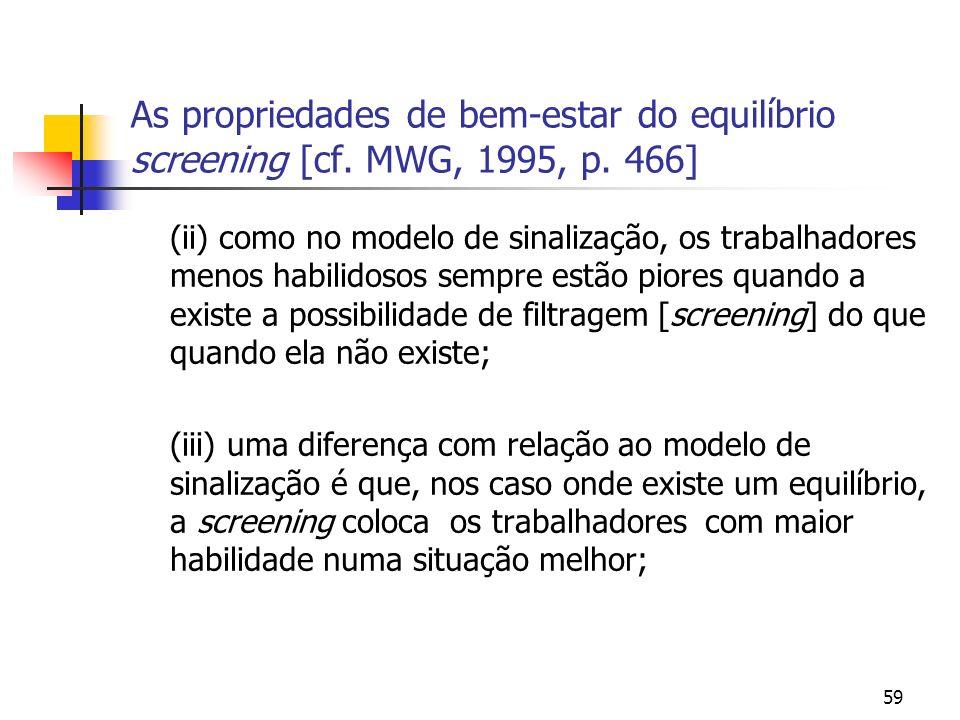59 As propriedades de bem-estar do equilíbrio screening [cf. MWG, 1995, p. 466] (ii) como no modelo de sinalização, os trabalhadores menos habilidosos