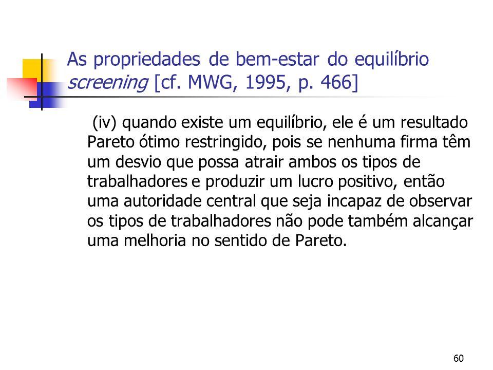 60 As propriedades de bem-estar do equilíbrio screening [cf. MWG, 1995, p. 466] (iv) quando existe um equilíbrio, ele é um resultado Pareto ótimo rest