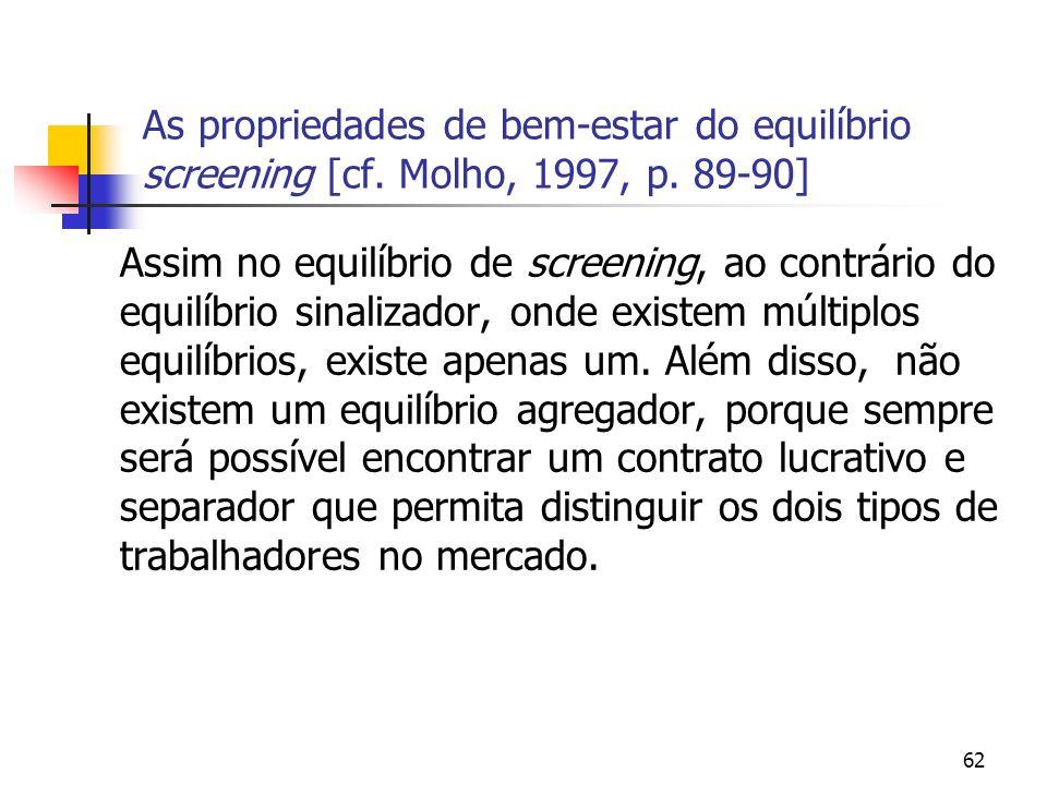 62 As propriedades de bem-estar do equilíbrio screening [cf. Molho, 1997, p. 89-90] Assim no equilíbrio de screening, ao contrário do equilíbrio sinal