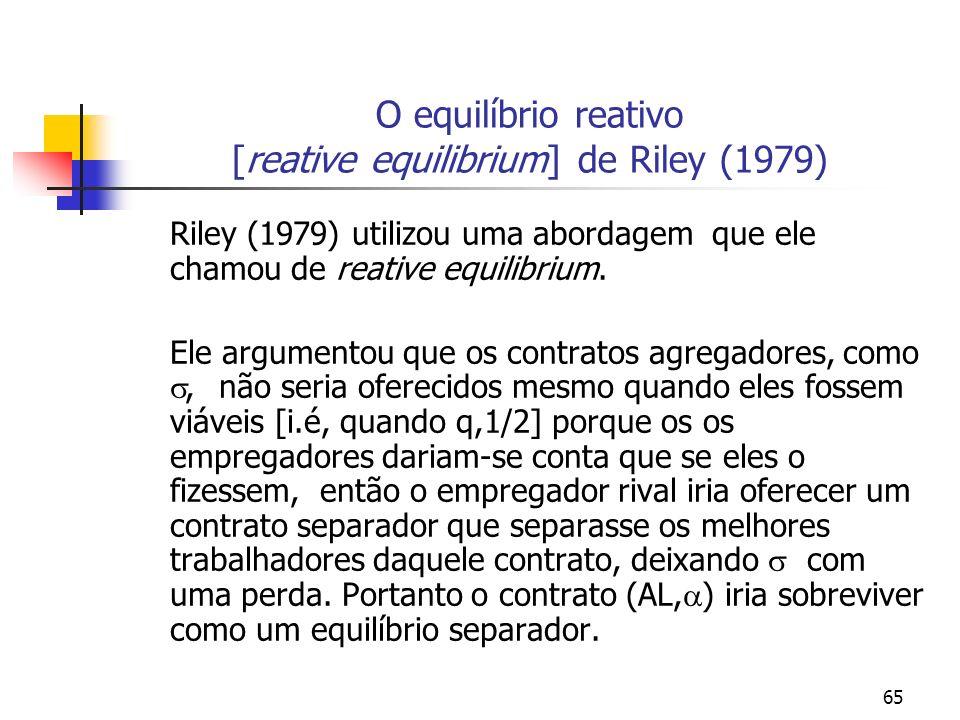 65 O equilíbrio reativo [reative equilibrium] de Riley (1979) Riley (1979) utilizou uma abordagem que ele chamou de reative equilibrium. Ele argumento