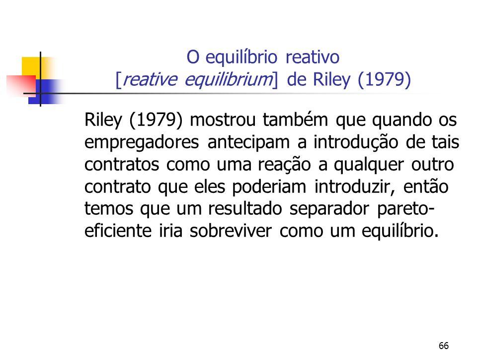 66 O equilíbrio reativo [reative equilibrium] de Riley (1979) Riley (1979) mostrou também que quando os empregadores antecipam a introdução de tais co