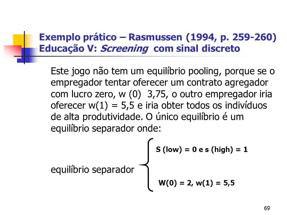 69 Exemplo prático – Rasmussen (1994, p. 259-260) Educação V: Screening com sinal discreto Este jogo não tem um equilíbrio pooling, porque se o empreg