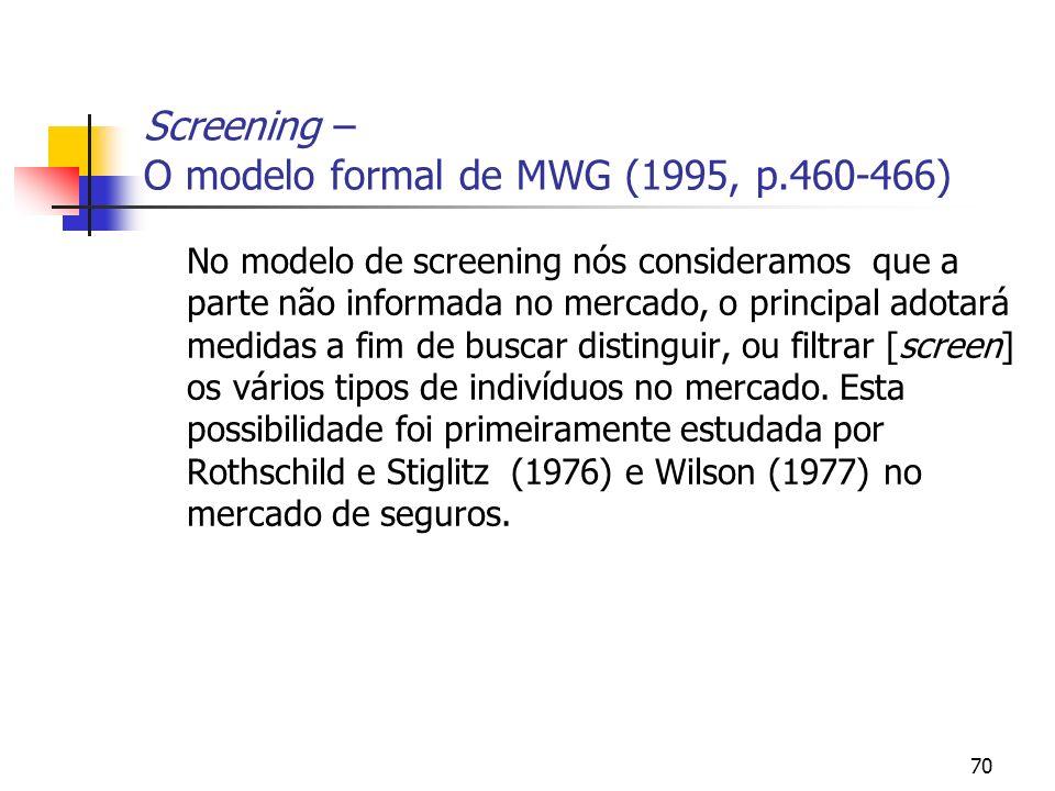 70 Screening – O modelo formal de MWG (1995, p.460-466) No modelo de screening nós consideramos que a parte não informada no mercado, o principal adot
