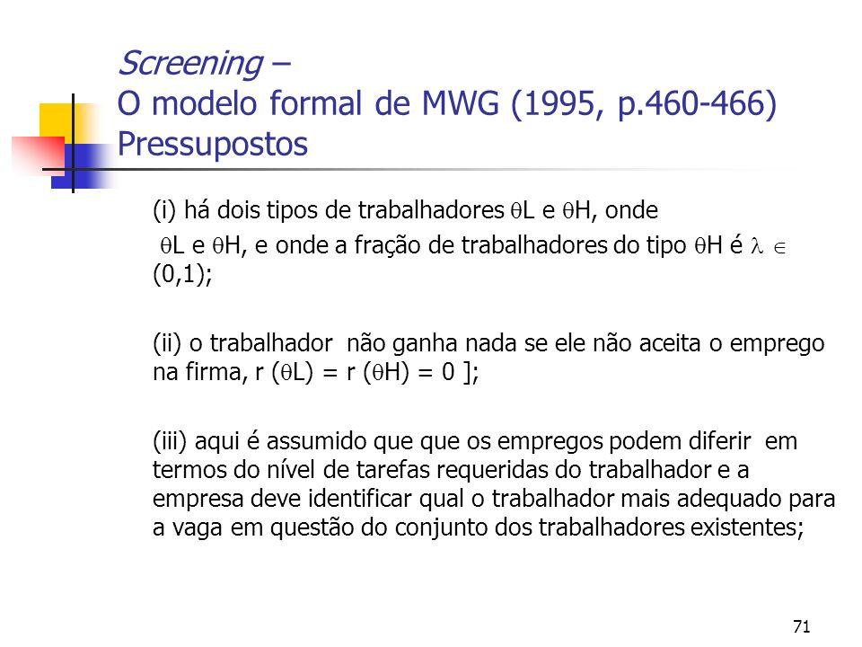 71 Screening – O modelo formal de MWG (1995, p.460-466) Pressupostos (i) há dois tipos de trabalhadores L e H, onde L e H, e onde a fração de trabalha