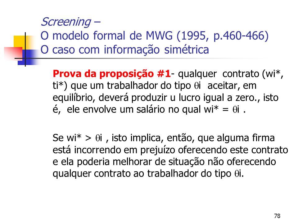 78 Screening – O modelo formal de MWG (1995, p.460-466) O caso com informação simétrica Prova da proposição #1- qualquer contrato (wi*, ti*) que um tr