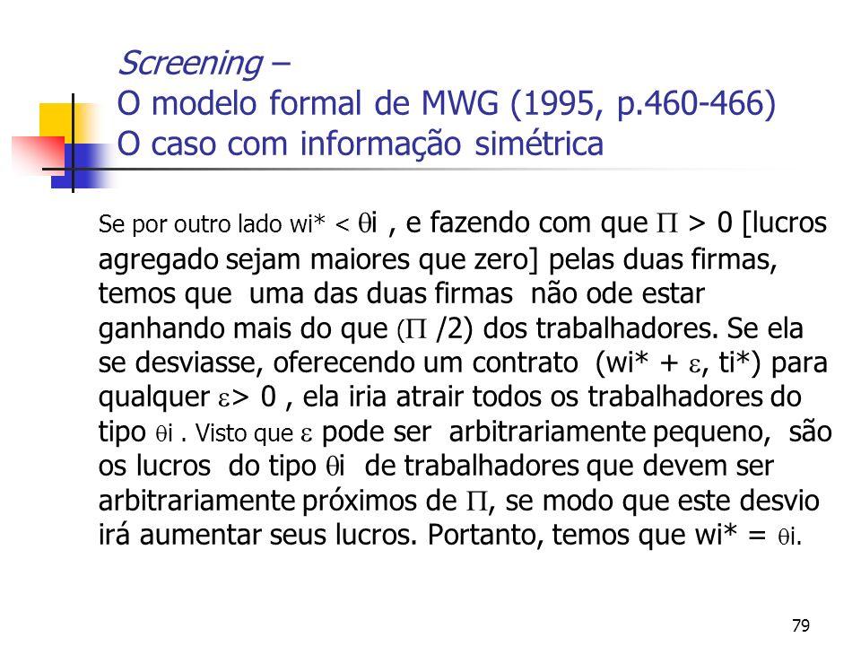 79 Screening – O modelo formal de MWG (1995, p.460-466) O caso com informação simétrica Se por outro lado wi* 0 [lucros agregado sejam maiores que zer