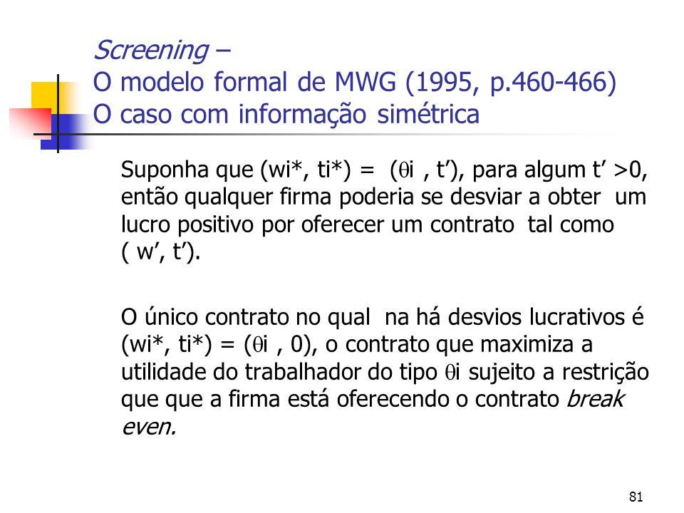 81 Screening – O modelo formal de MWG (1995, p.460-466) O caso com informação simétrica Suponha que (wi*, ti*) = ( i, t), para algum t >0, então qualq