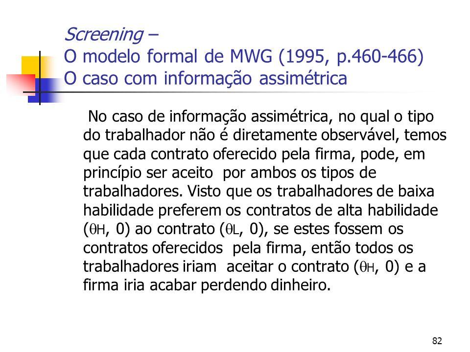 82 Screening – O modelo formal de MWG (1995, p.460-466) O caso com informação assimétrica No caso de informação assimétrica, no qual o tipo do trabalh