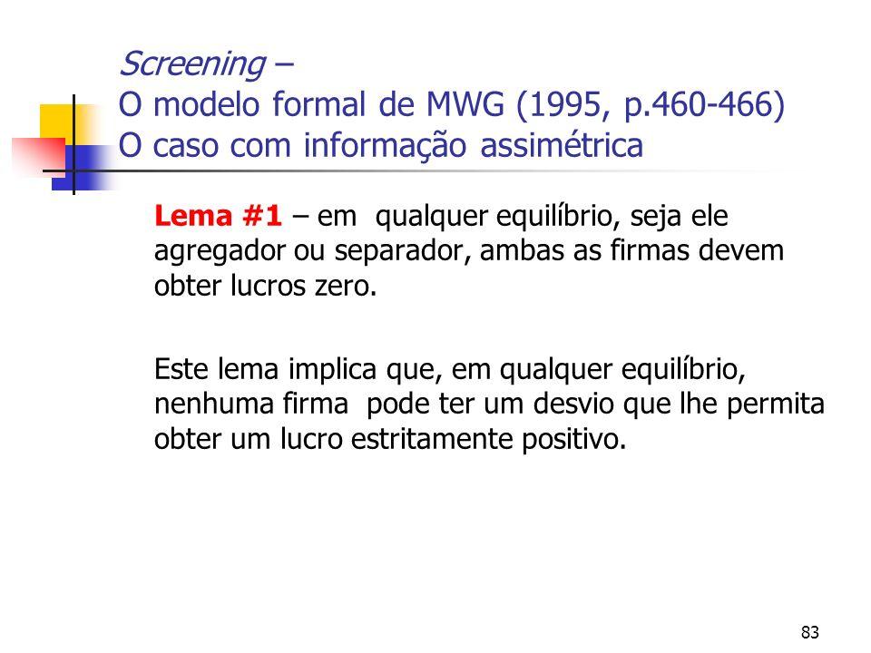 83 Screening – O modelo formal de MWG (1995, p.460-466) O caso com informação assimétrica Lema #1 – em qualquer equilíbrio, seja ele agregador ou sepa